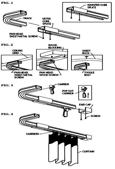 Sistema de rieles con cortinas antibacterianas de uso for Ganchos para cortinas de riel